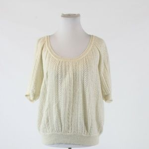 Ivory  EXPRESS scoop neck sweater blouse S